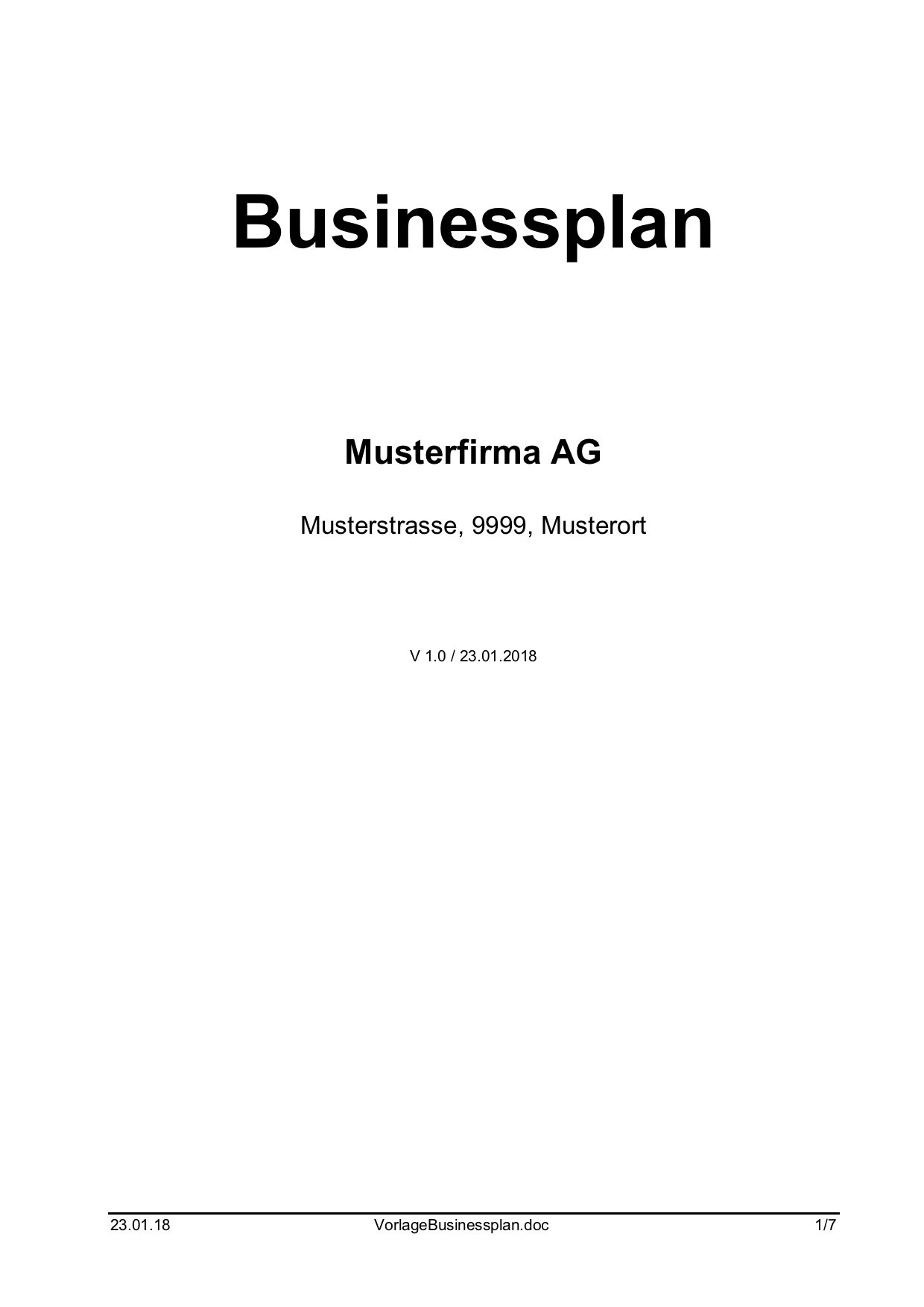 businessplan vorlage word format muster