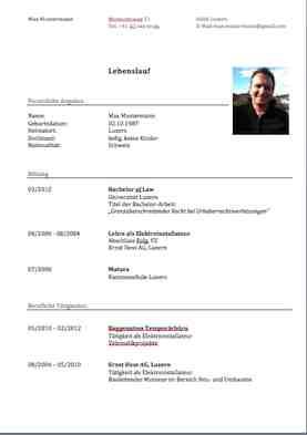Lebenslauf Vorlage (Klassisch und modern) – Muster Vorlage.ch