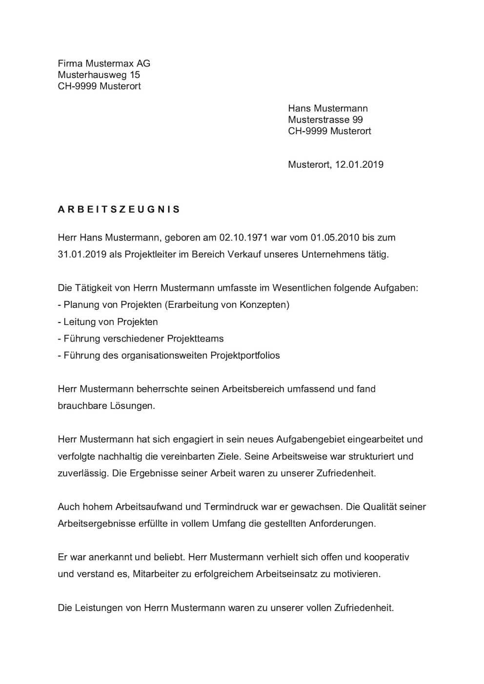 Vorlage Muster Arbeitszeugnis Schweiz