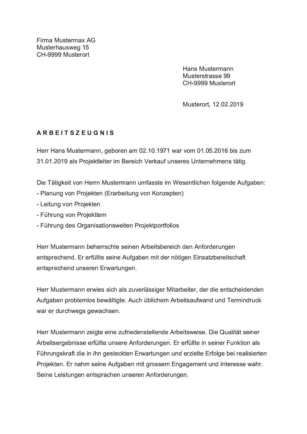 Arbeitszeugnis Vorlage Schweiz
