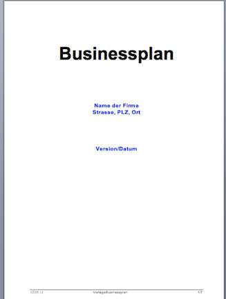 Businessplan Vorlage (Word-Format)
