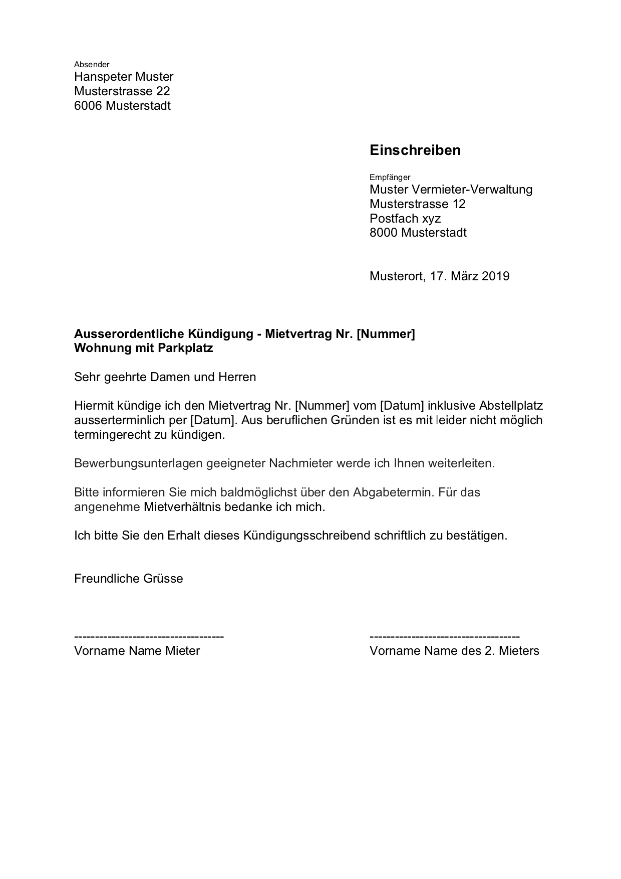 Wohnungskundigung Vorlage Schweiz Gratis