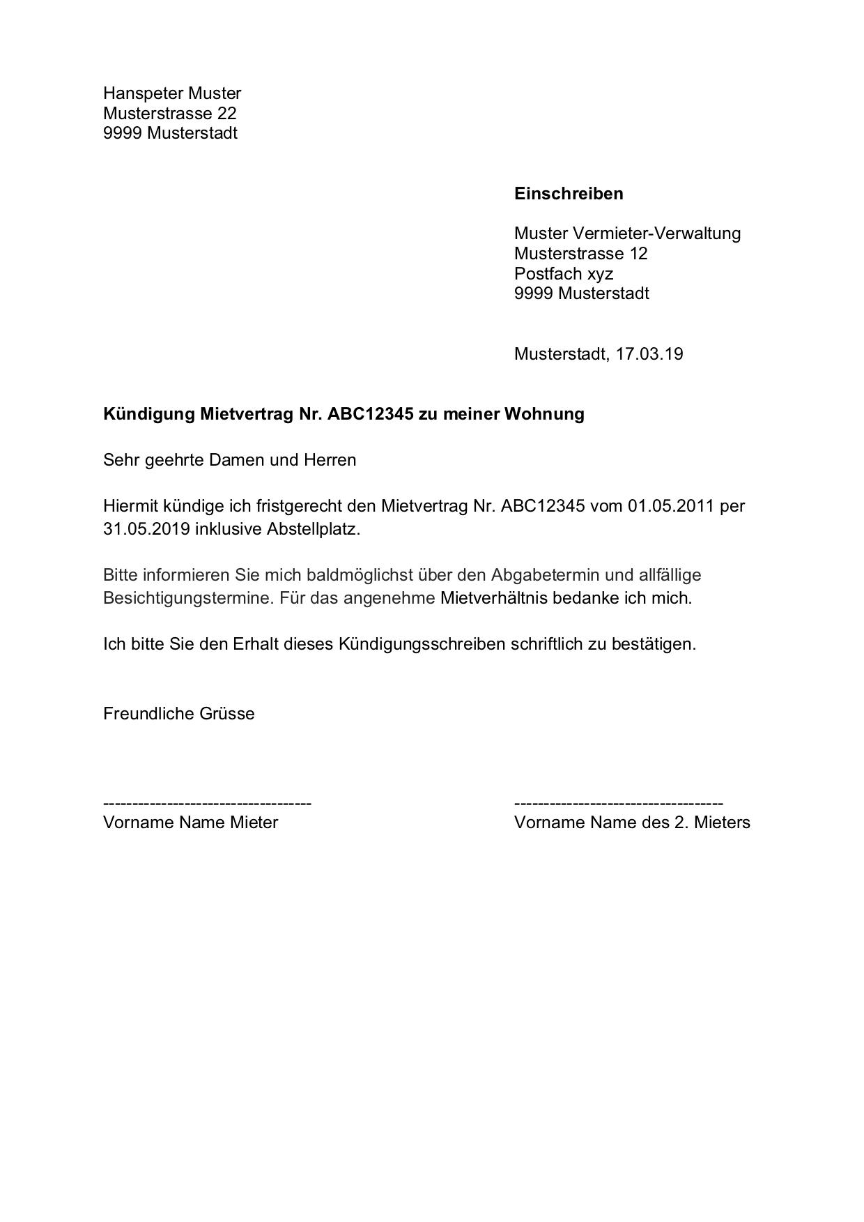 Kündigung Vorlage Arbeitsvertrag Schweiz Gratis Word Vorlage