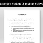 Testament Vorlage und Muster