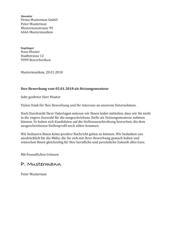 Absage Bewerbung Vorlage Word