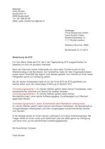 Bewerbungsschreiben Muster Schweiz Mit Gratis Vorlage Muster