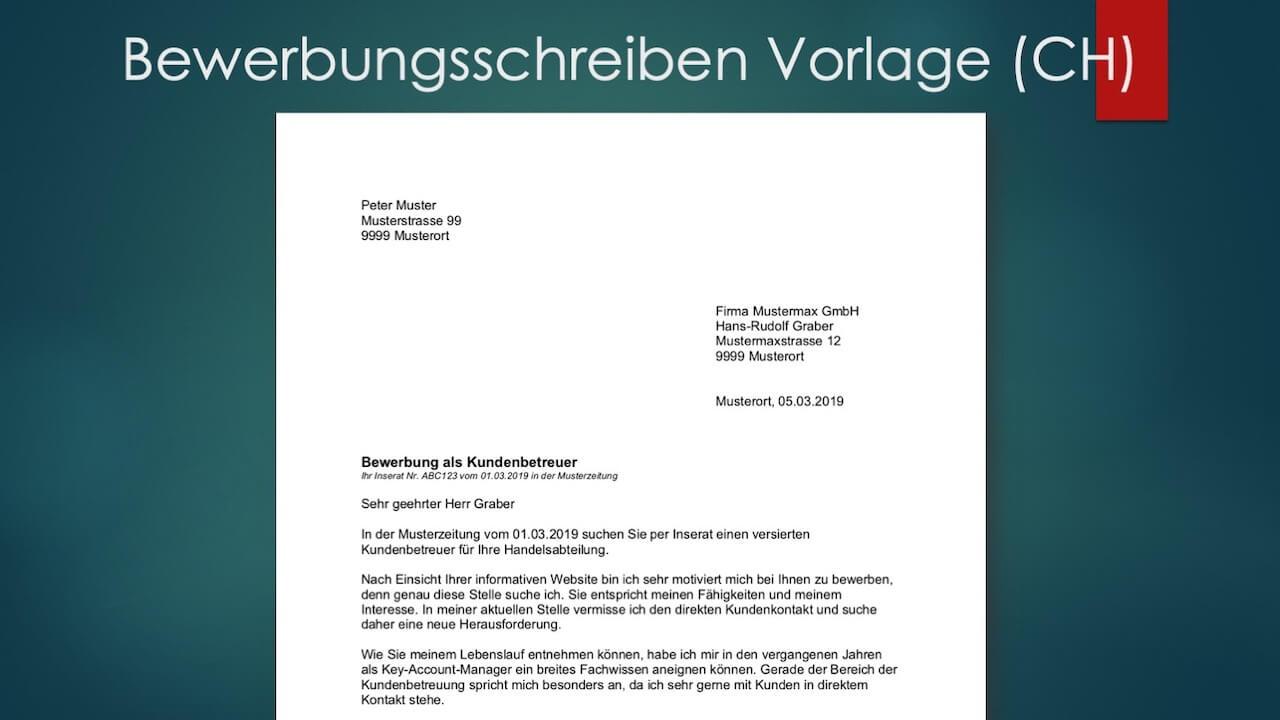 Bewerbungsschreiben Muster Vorlagen Schweiz Gratis