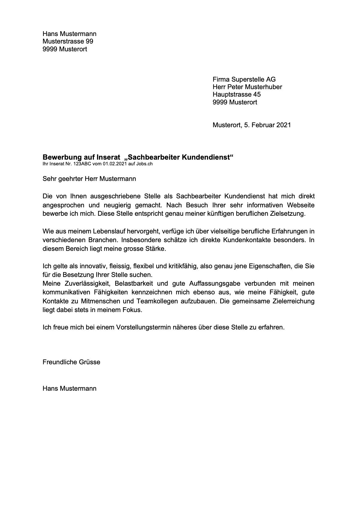 Bewerbungsschreiben Vorlage