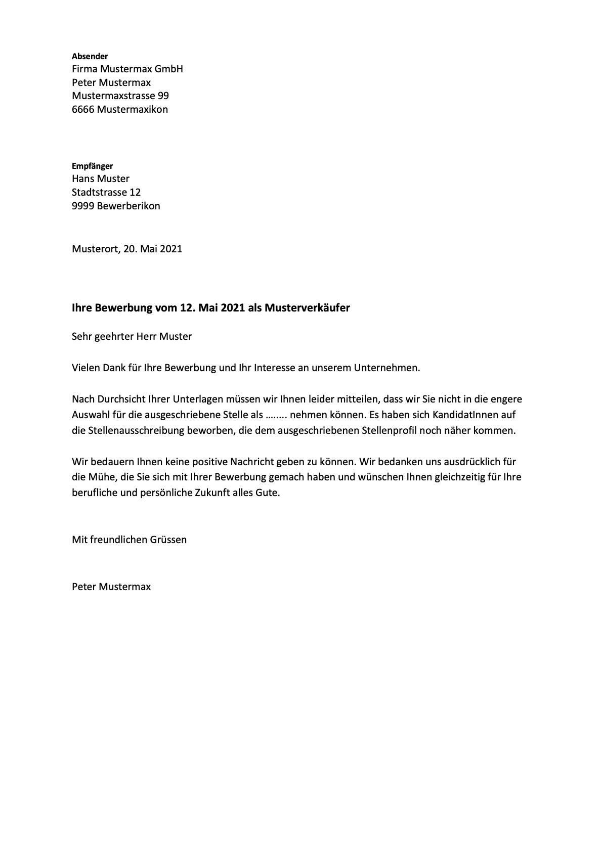 Absage nach vorstellungsgespräch muster kostenlos
