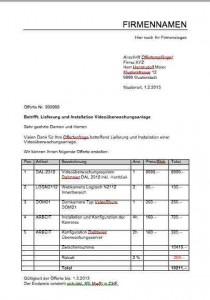 Offerte angebot vorlage schweiz kostenlos muster und for Tabelle muster word