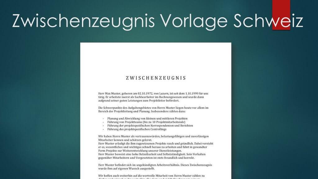 Vorlage Zwischenzeugnis Schweiz Header