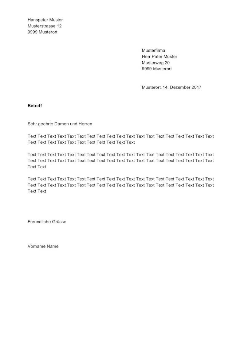 Briefvorlage Schweiz Sichtfenster Links Rechts Muster Vorlagech