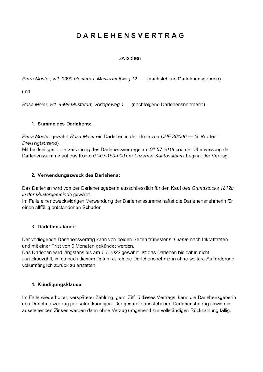 Darlehensvertrag Vorlage Schweiz Privatdarlehen Muster Vorlagech