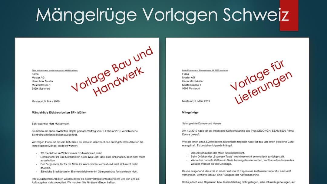 Mangelruge Vorlage Musterbrief Schweiz Gratis Downloaden