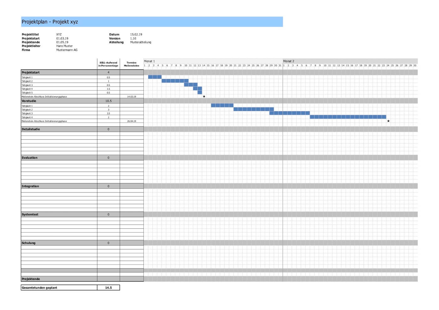 Projektplan Vorlage Excel