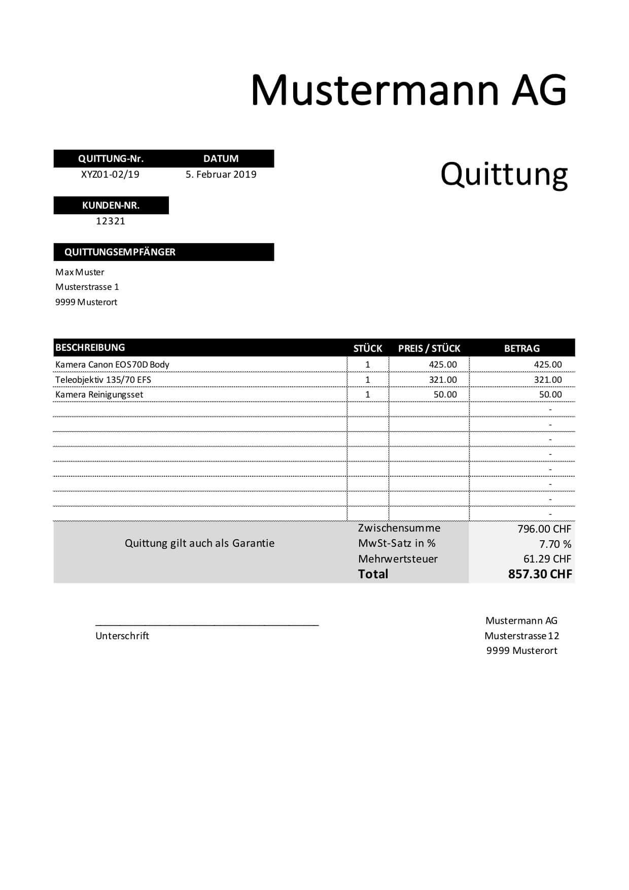 Quittungsvorlage Excel