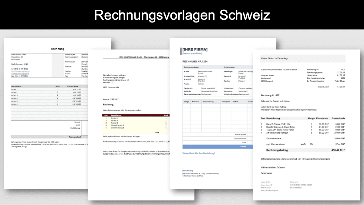 Rechnungsvorlagen Schweiz Header