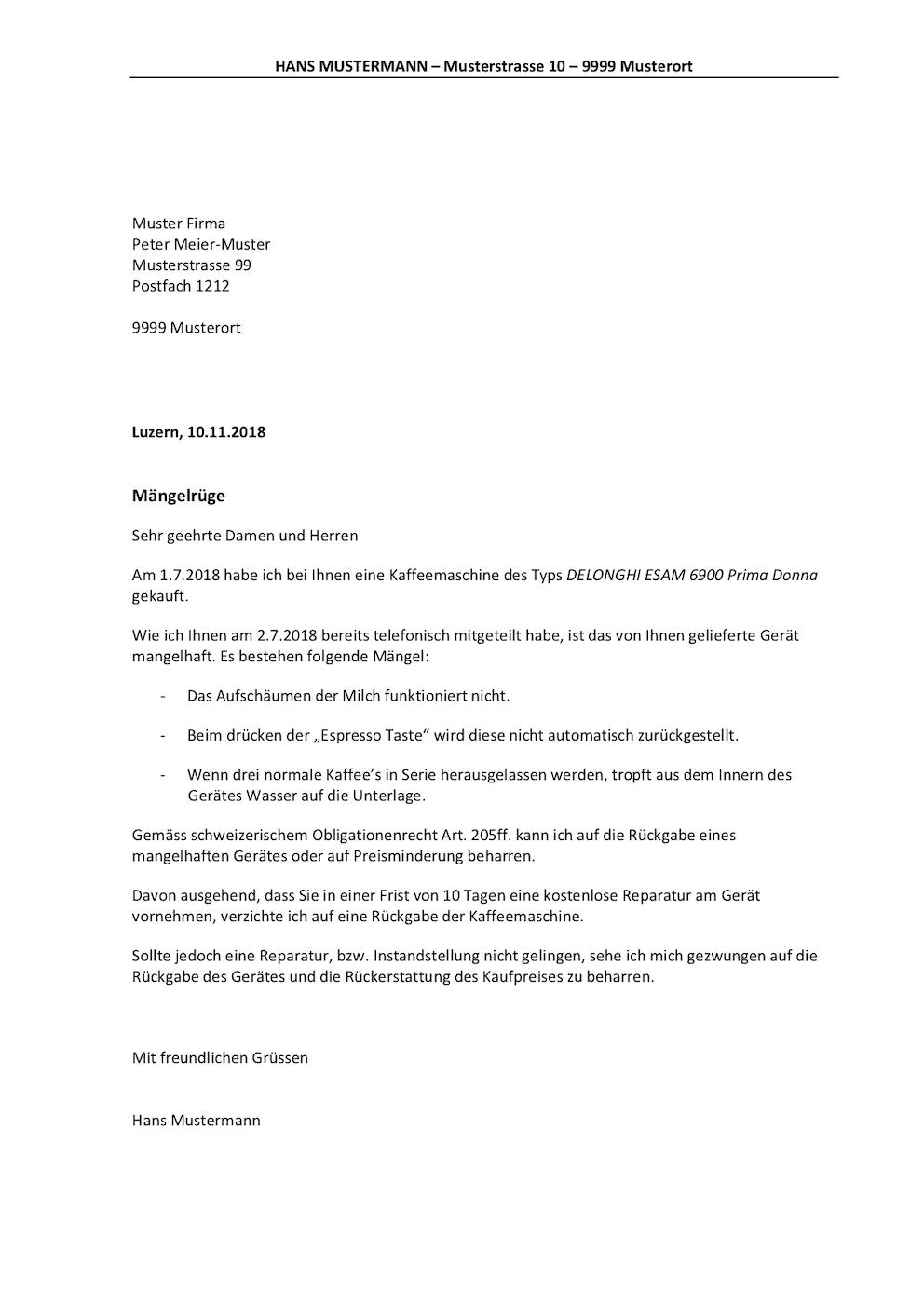 Vorlage Mängelrüge Schweiz Muster Vorlagech