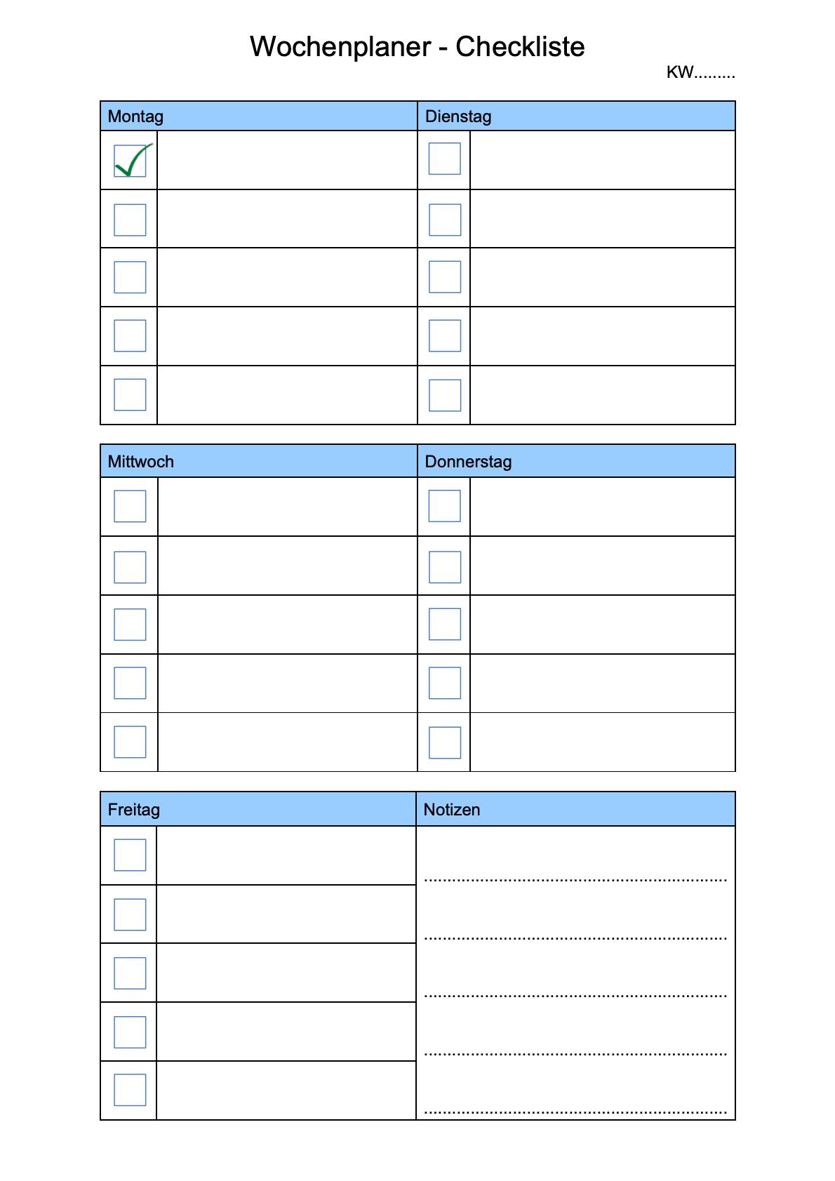 Wochenplaner Checkliste
