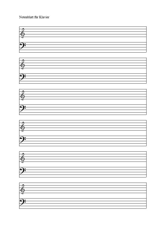 Notenblatt Vorlage leer für Klavier und Keyboard