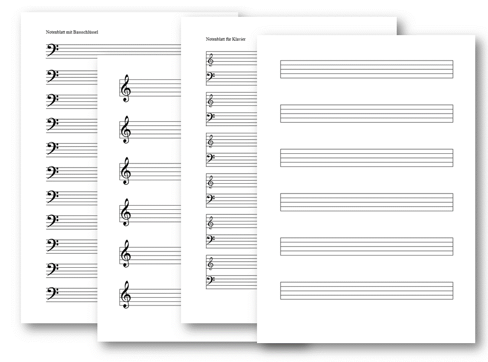 Notenblatt leer (PDF & Word) mit Notenschlüssel | Muster-Vorlage.ch