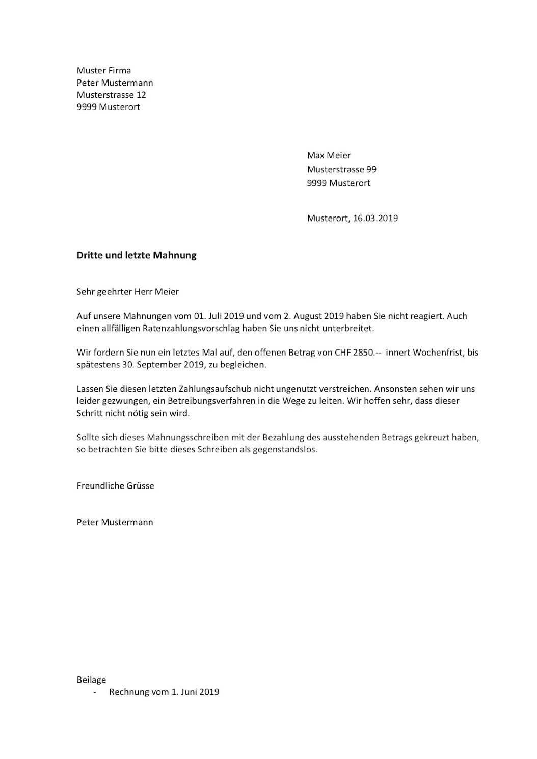3. Mahnung Vorlage Schweiz