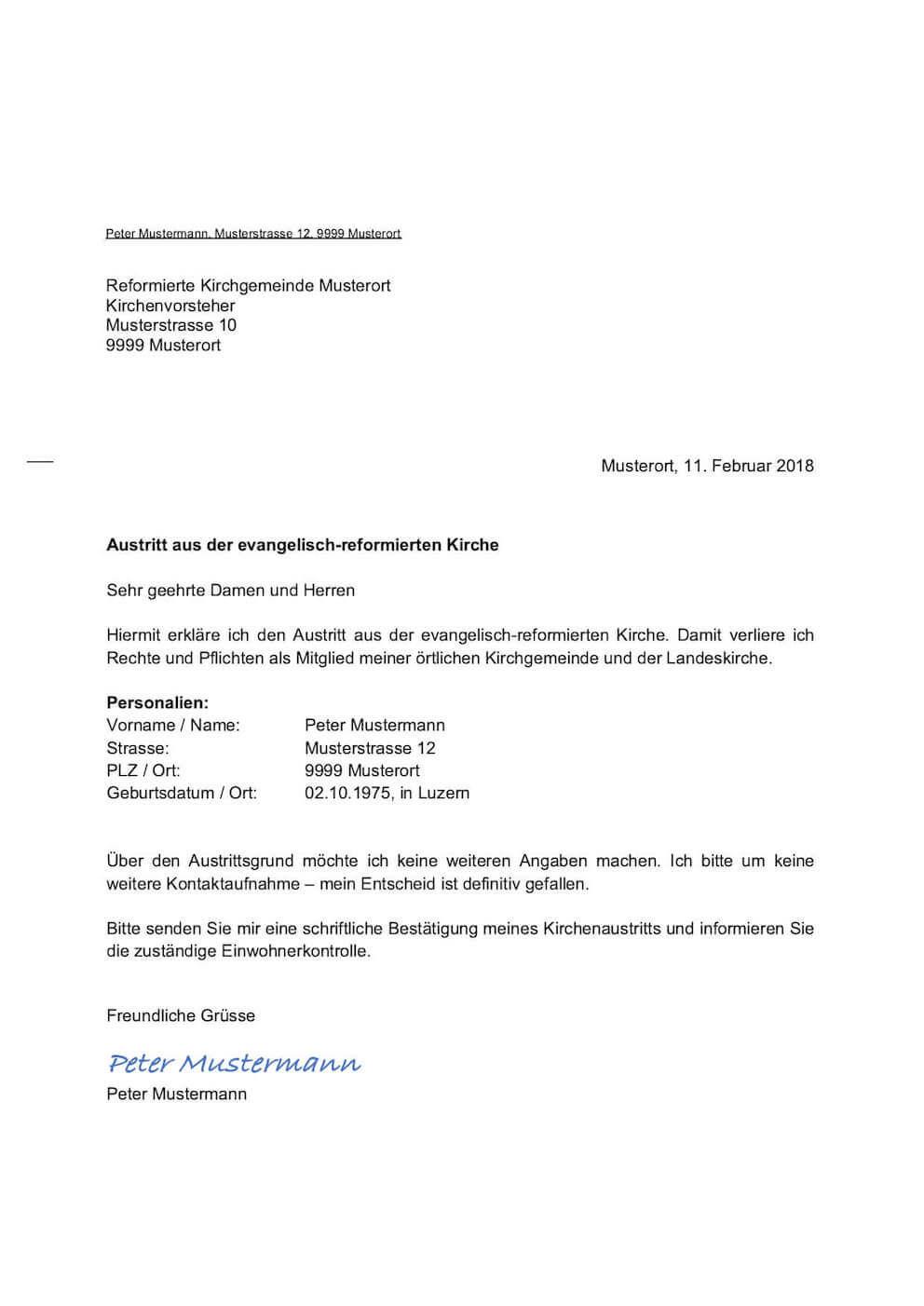 Kirchenaustritt Schweiz Vorlage Muster Vorlagech
