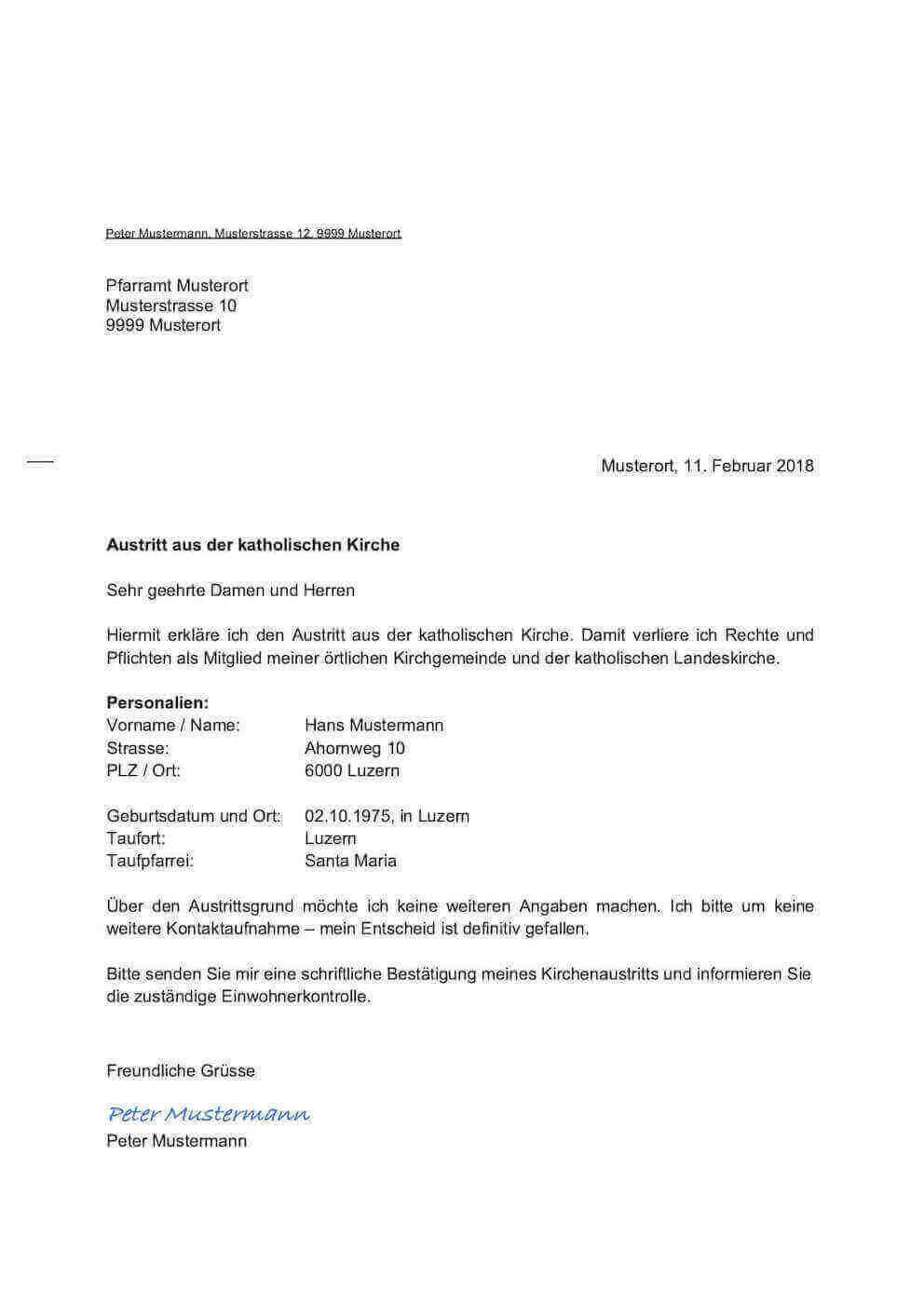 Kirchenaustritt Schweiz Vorlage – Muster-Vorlage.ch