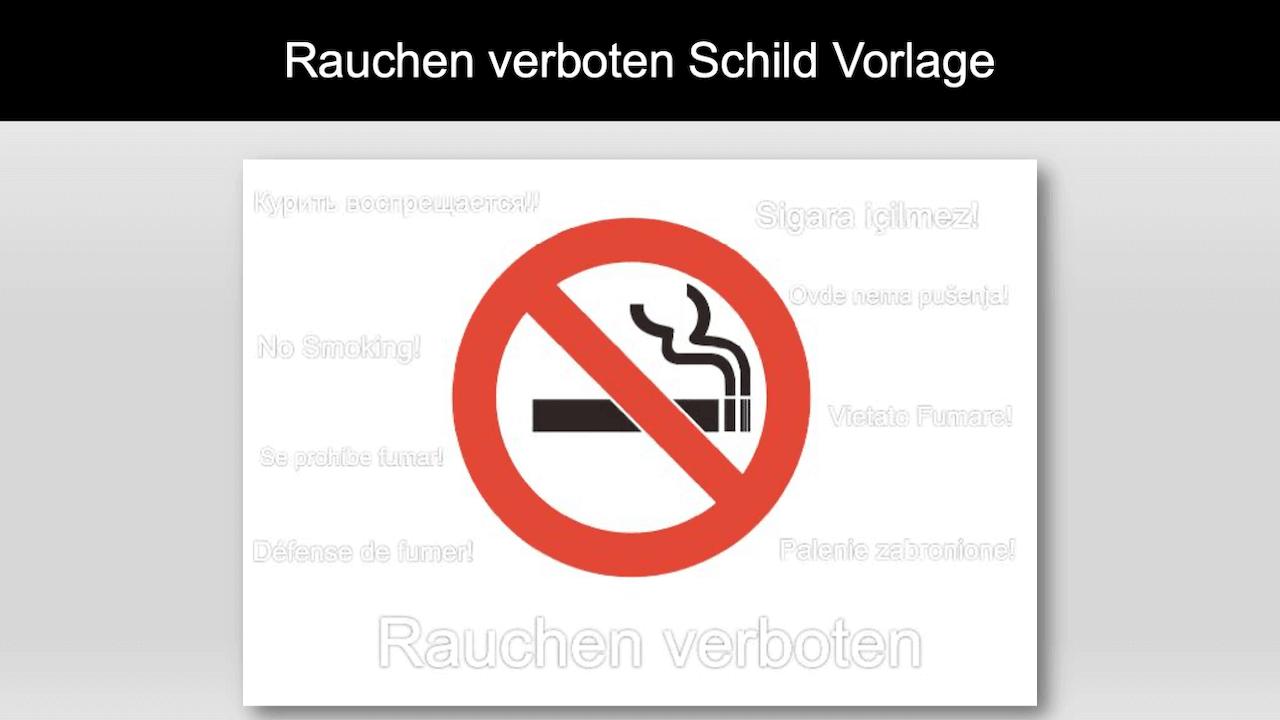 Rauchen verboten Schild Vorlage Header