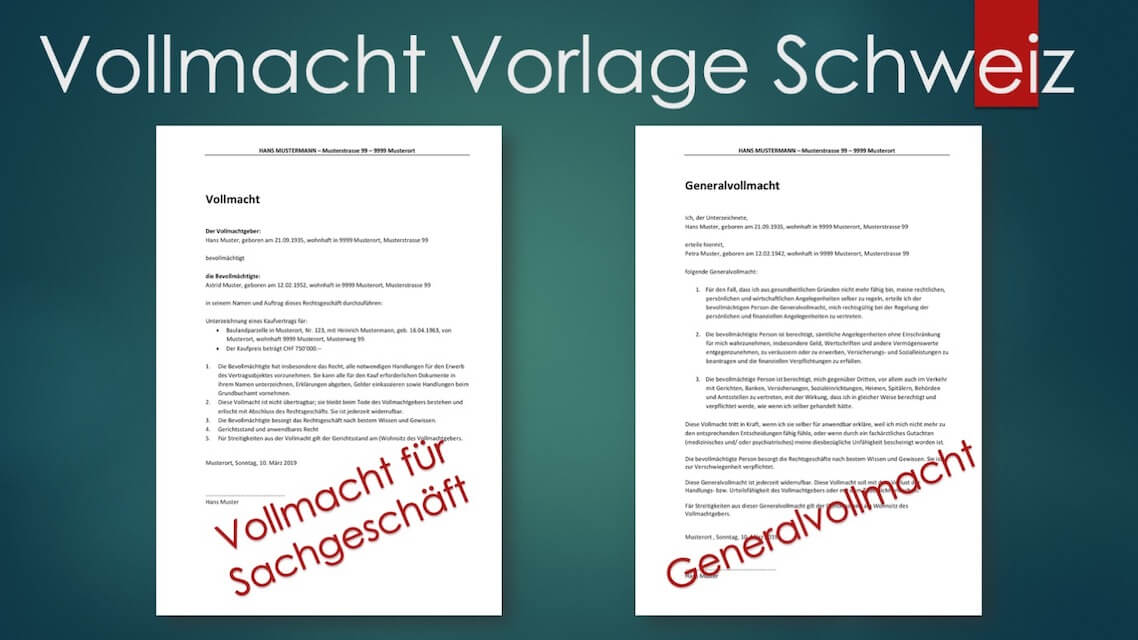 Header Vollmacht Vorlage Schweiz