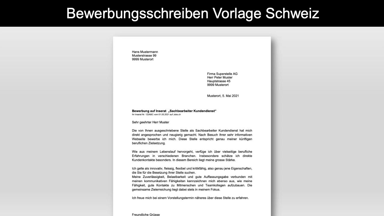 Bewerbungsschreiben Vorlage Schweiz Header