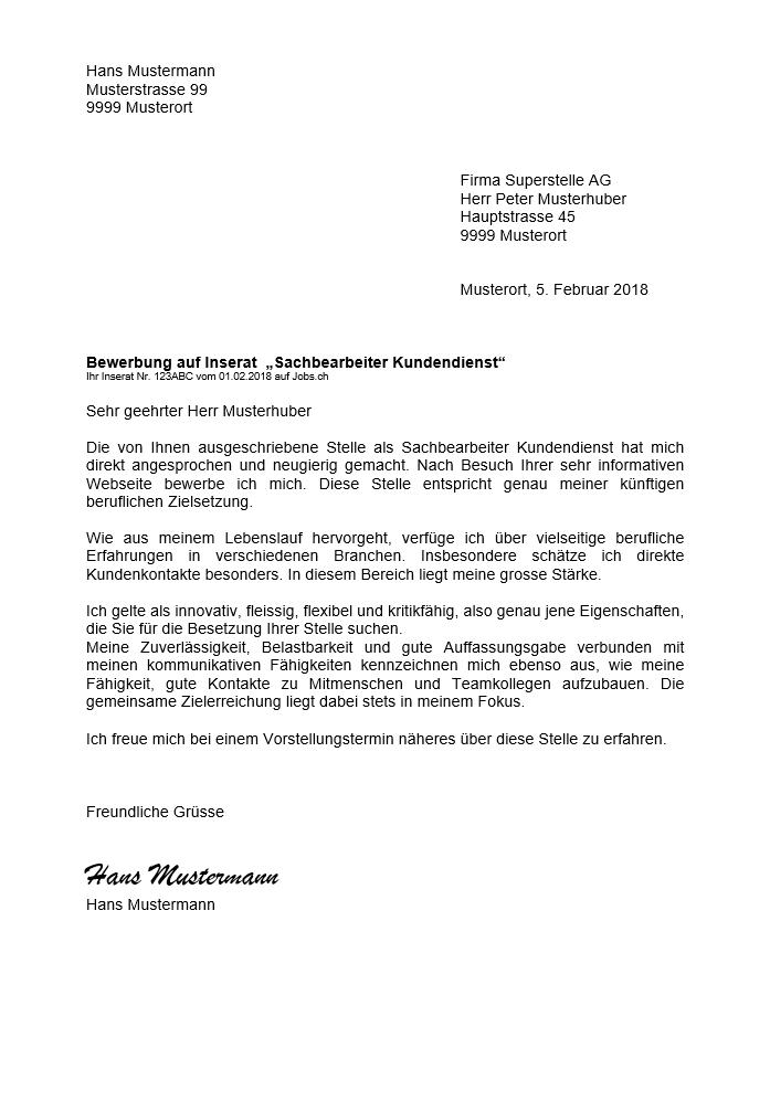 Bewerbungsschreiben Anschreiben Vorlage Schweiz Muster