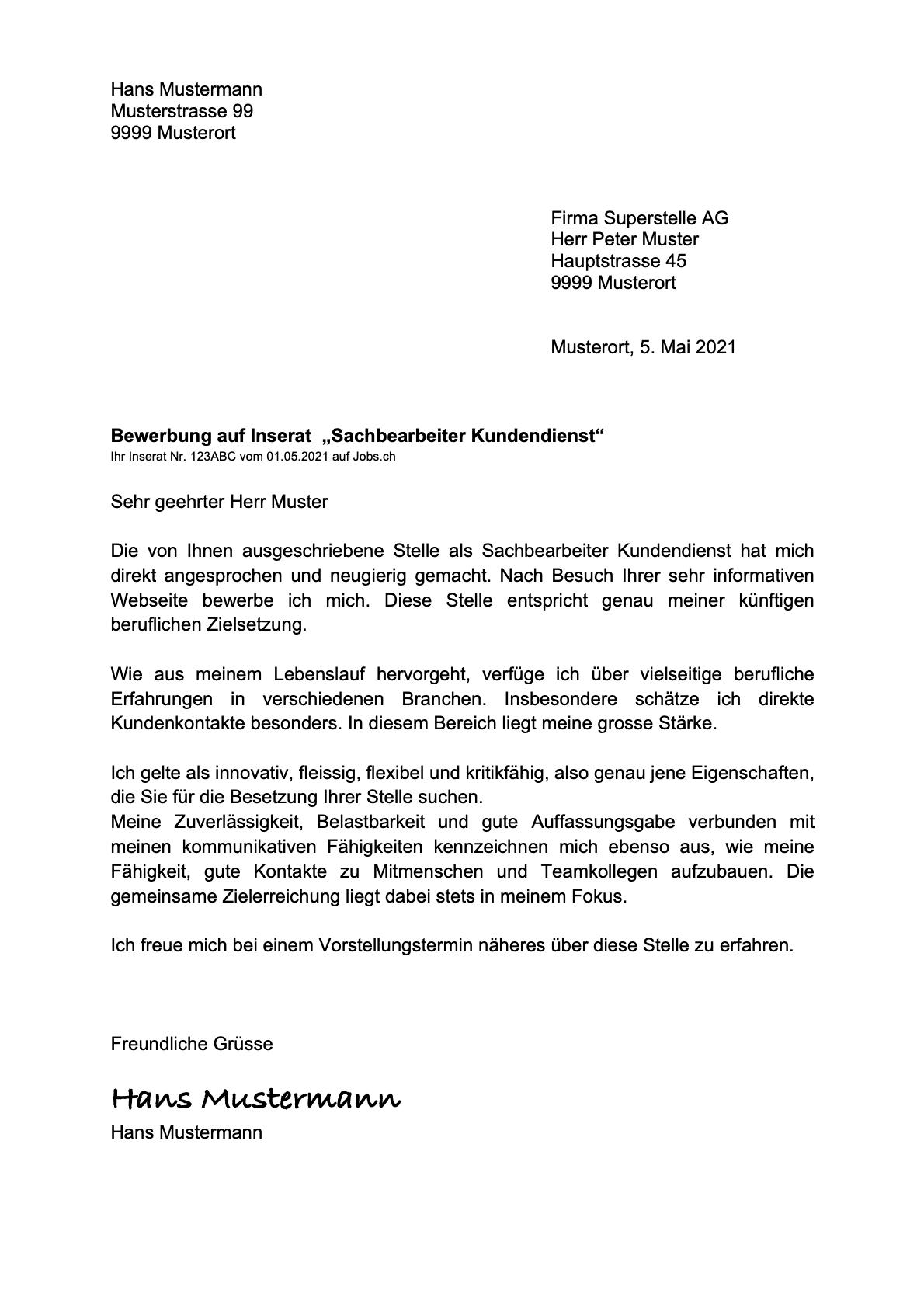 Bewerbungsschreiben Vorlage Muster Schweiz