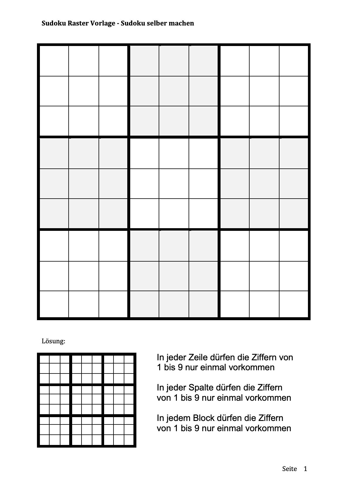 Sudoku Vorlage leer