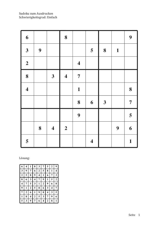 Sudoku zum Ausdrucken (9 x 9) – Muster-Vorlage.ch