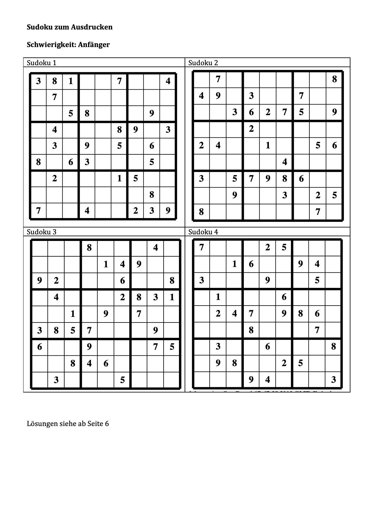 Sudoku ausdrucken Anfänger