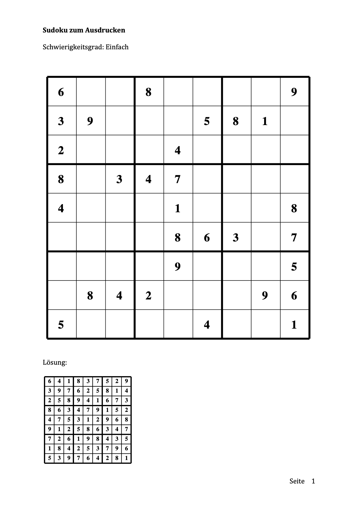 Sudoku zum Ausdrucken - Einfach