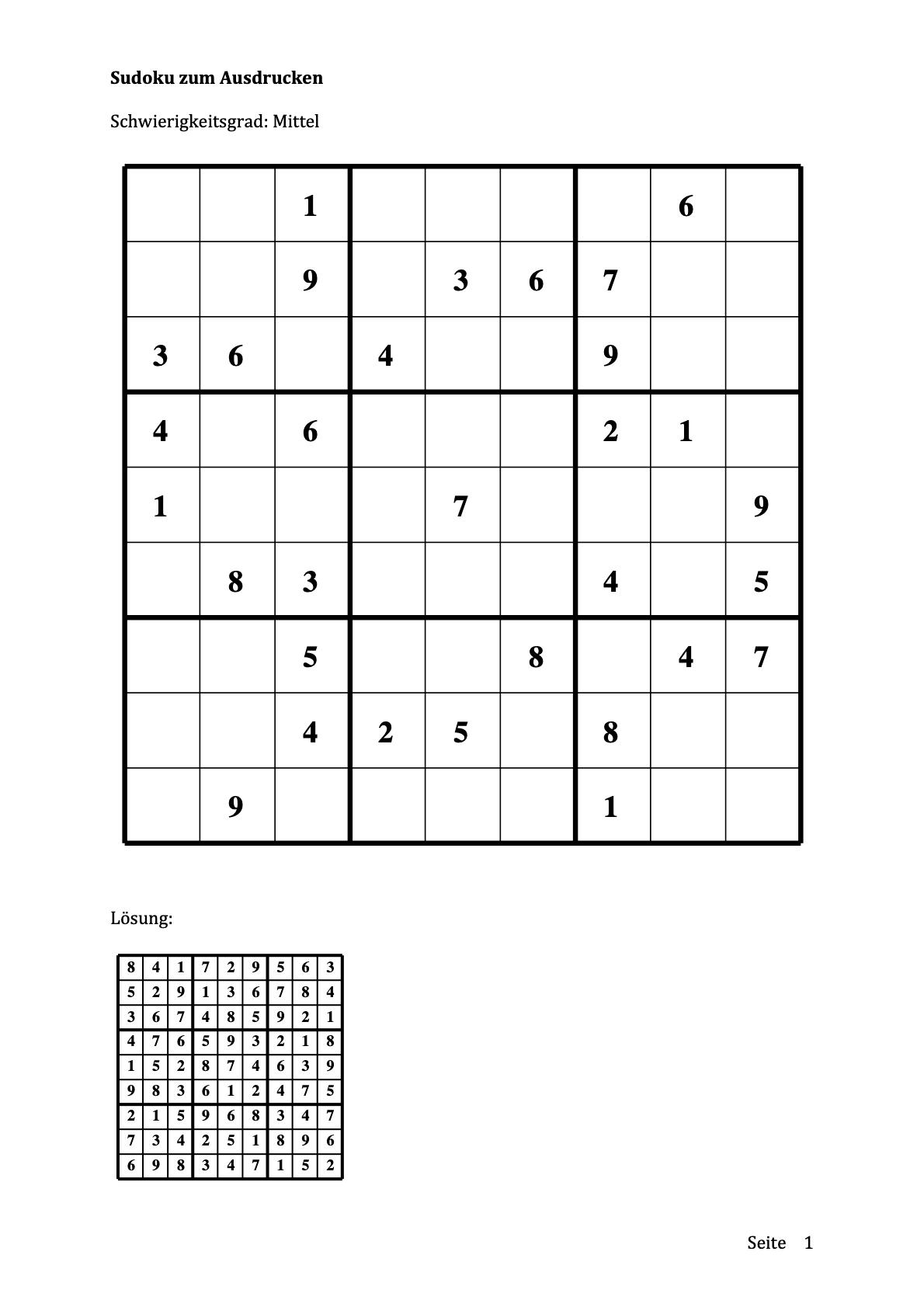 Sudoku - Schwierigkeit mittel