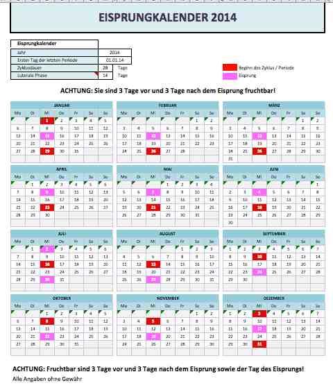 Eisprungkalender (Excel)