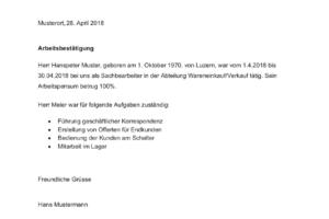 Arbeitsbestätigung Vorlage Schweiz Muster Vorlagech