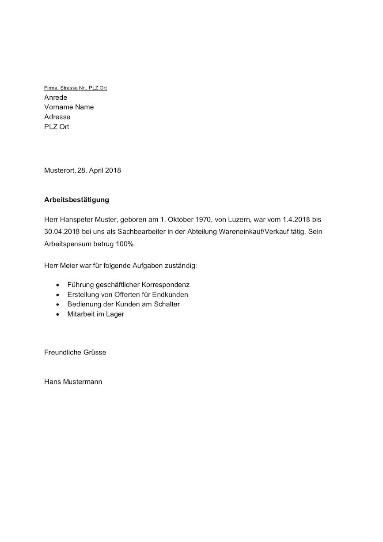 Arbeitsbestätigung Vorlage Schweiz – Muster-Vorlage.ch