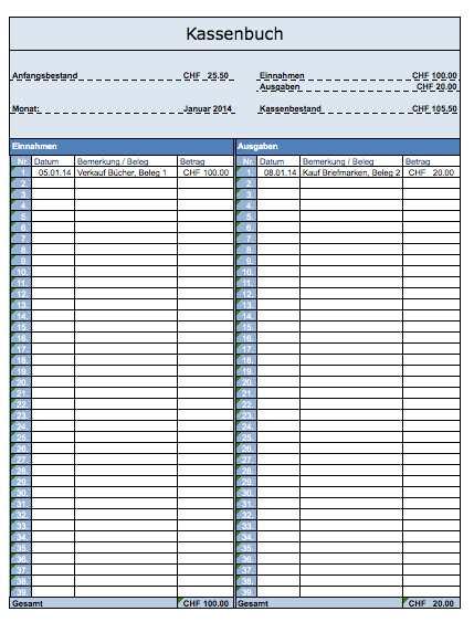 Kassenbuch Vorlage Excel (Schweiz) kostenlos – Muster-Vorlage.ch