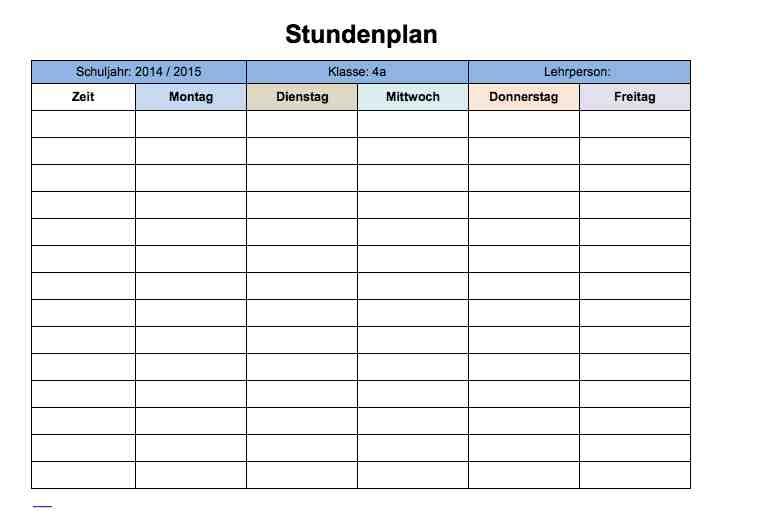 Stundenplan Vorlage Excel – Muster-Vorlage.ch