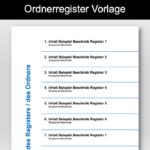 Ordnerregister Vorlage – Deckblatt