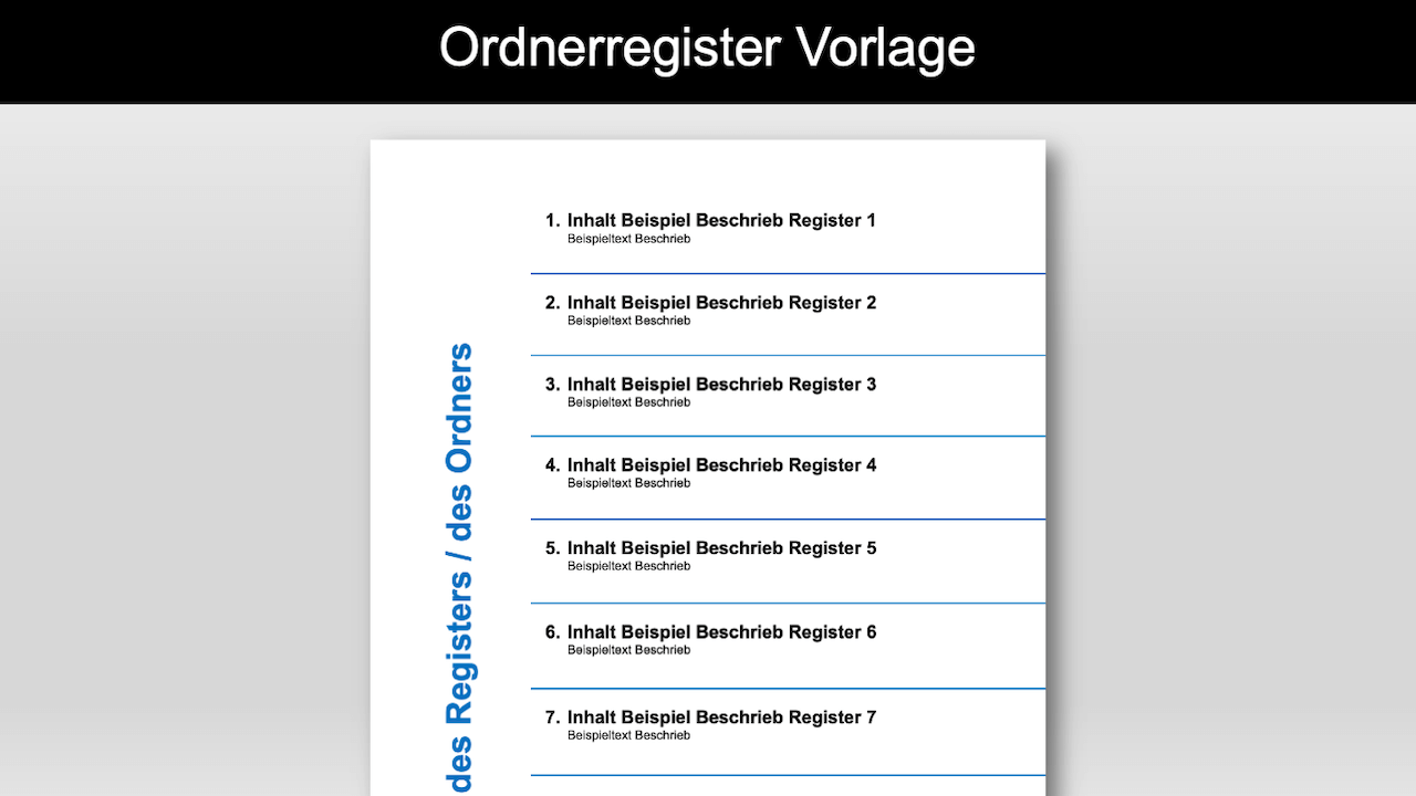 Register Vorlage Fur Ordner Ordner Register 5
