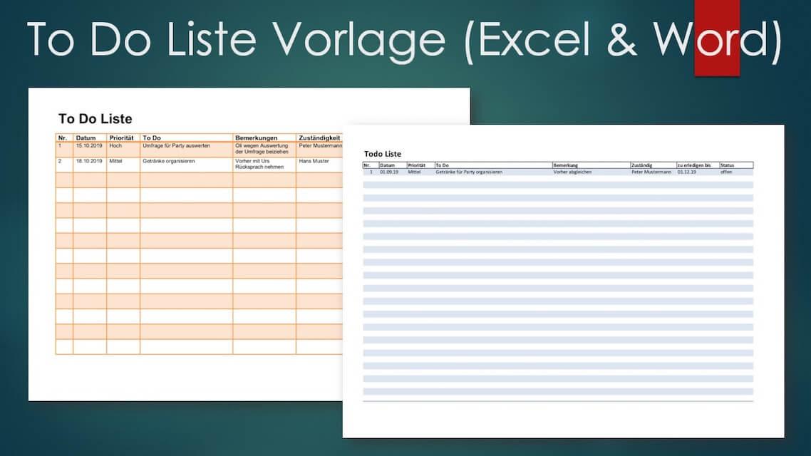 To Do Liste Vorlage Excel und Word
