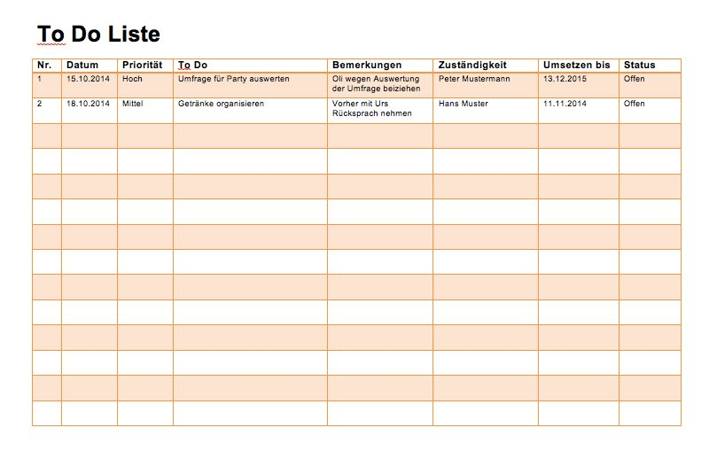 To Do Liste Word und Excel – Muster-Vorlage.ch