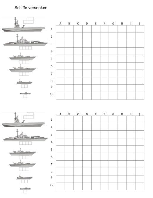 Hervorragend Schiffe versenken Vorlage zum Ausdrucken | Muster-Vorlage.ch UB82