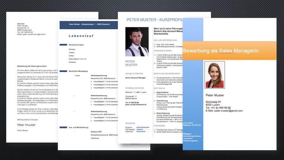Bewerbungsvorlagen Schweiz Muster Vorlagech