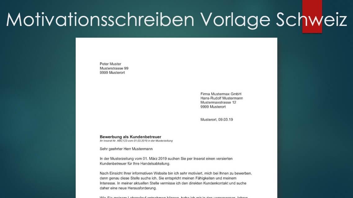 Motivationsschreiben Muster Vorlage Schweiz Kostenlos